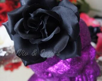 The Munster Black Rose Hair Clip ( Creepy, Lily Munster, Goth, Punk, Rockabilly )