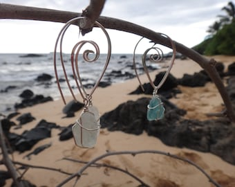925 sterling silver Maui seaglass spiral earrings