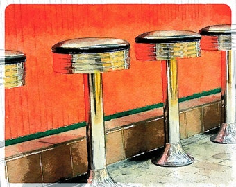 Pedestals + Orange Stools: Photo Art taken at Reading Terminal Market in Philadelphia