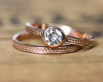 14k rose gold moissanite wedding set - diamond like - braided band - wheat ring - solitaire - forever brilliant - pink gold - made to order