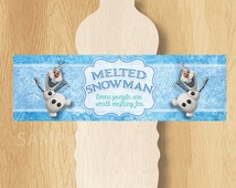 """Frozen Birthday Water Bottle Labels - INSTANT DOWNLOAD 2.5x8"""" Melted Snowman Frozen Water Bottle Labels - Birthday Party Printable"""
