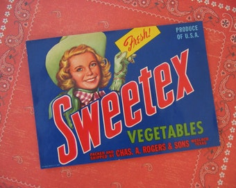 Vintage Original Label Sweetex Vegetables Can Cowgirl