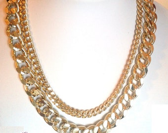 Double Gold Chain Necklace! Minimalist Necklace in gold!
