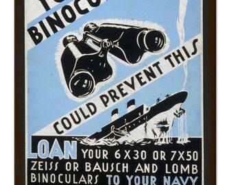 Binoculars Us Navy Vintage Metal Sign Retro Tin Plaque Advert