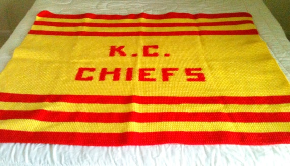 Crochet Pattern Kansas City Chiefs Afghan : Kansas City Chiefs afghan couch throw crocheted lap thrown