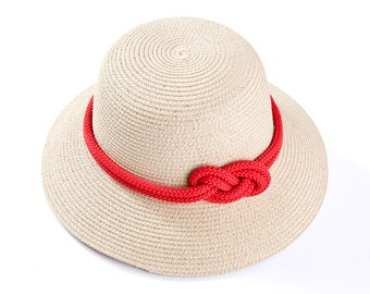 Straw hat , Sun hat , Off White hat with a red sailor rope & a nautical knot embellishment.