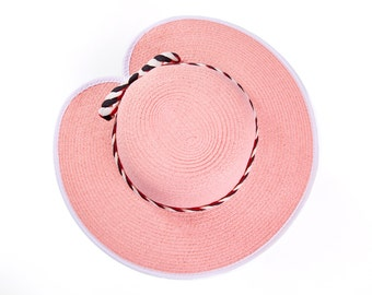 Rose quartz hat , Pink wide brim hat , Sun hat for women , decorated with a two-tone braided ribbon & a bow.