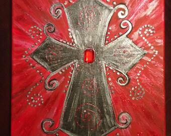 11 x 14 Acrylic Hand painted Crosses on Acrylic