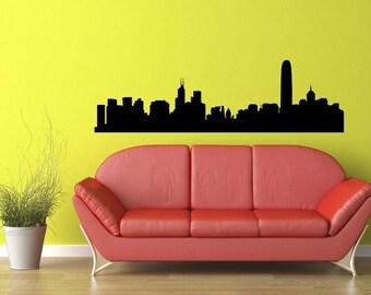Hong Kong Skyline Vinyl Wall Decal  Wall Art Sticker Room Decor