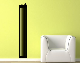 Basic Tall Skyscraper Silhouette Vinyl Wall Decal  Wall Art Sticker Room Decor