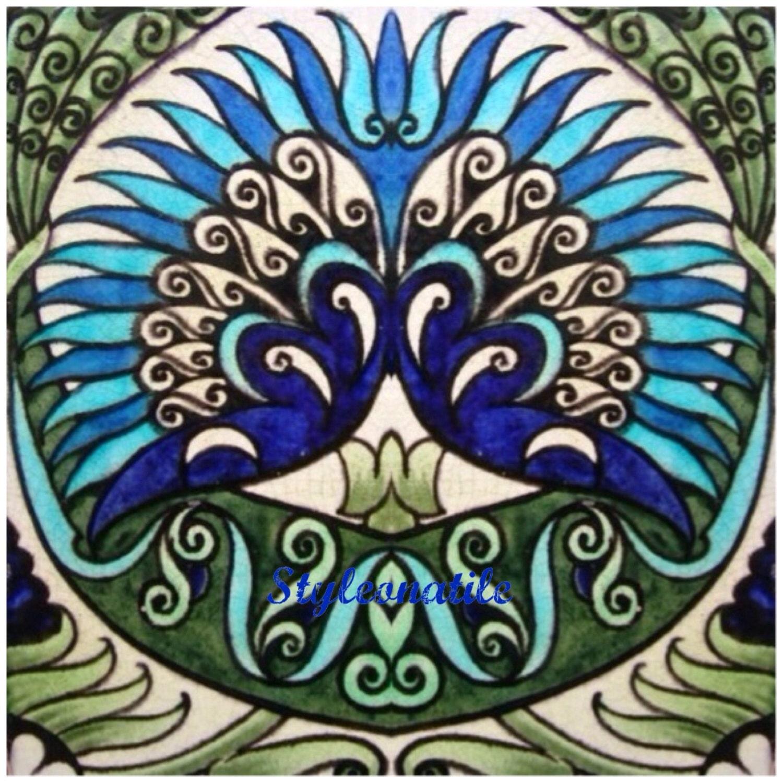 William de morgan persian round flower design large ceramic tile william de morgan persian round flower design large ceramic tile trivet kitchen bathroom walls splash backs fireplace tile plant stands dailygadgetfo Images