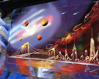 GALAXY - Spray Paint Art - (14 in x 22 in) Space Painting