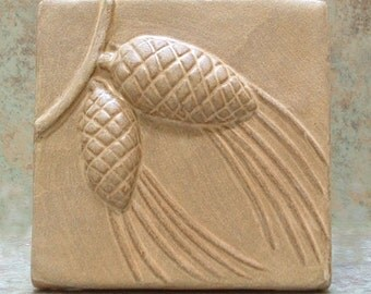 "3"" Pine-cone high relief tile with satin sand glaze"
