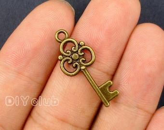 35pcs of Antique bronze tone key charms pendants 26x11mm