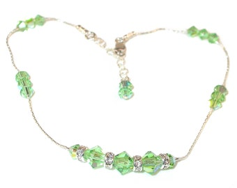 Swarovski Crystal Anklet Sterling Silver PERIDOT GREEN Handcrafted
