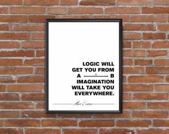 Albert Einstein Quote about Imagination Motivational Poster