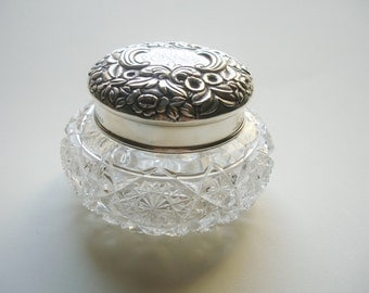 Sterling Silver Top Brilliant Cut Glass Dresser Jar Frank Whiting