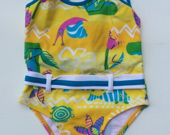 Fun Colorful Belted One-Piece Swimsuit (Childrens Size 2T)