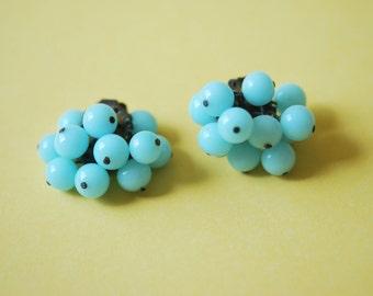 Pretty Blue Glass Earrings Vintage