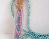 Geek blue striped resistor glass bottle recycled necklace poly clay techie