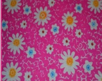 SALE - Allover Daisies Hot Pink - Flannel Fabric - Sold By the Half Yard