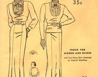 Butterick 5971 Simply Divine Frock with Two-Piece Skirt / ca. 1934 / SZ20 FACTORY FOLDS