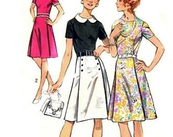 Simplicity 9987 Zesty Dress & Belt 1972 / SZ12.5 UNCUT