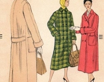 Vogue 9087 Lady's Double Breasted Coat / 1957 / SZ10 Complete