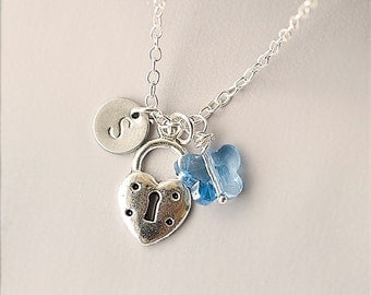 Personalized Initial Silver heart padlock necklace, Swarovski Crystal Necklace