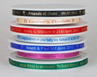 Personalised Printed satin Ribbon 3/8 x 38 yards for wedding favours Invitations and gift packaging 10mm x 35 metres