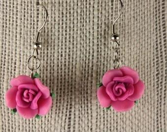Poly clay flower earrings/asst. colors - fishhooks, Dk Pink, E 154