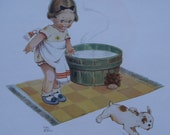 MABEL LUCIE ATTWELL Original Vintage Children's Print Podger the Dog Escapes the Bath Tub - 1924 - Matted - Ready to Frame
