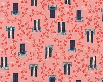 Window Pane, Hearts, Vines and Balconies, Homebody Pink and Navy Blue by Kim Kight for Cotton + Steel