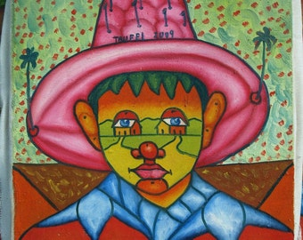 Original folk naive abstract painting Boy with a pink hat oil on canvas by Celso Trufel 8 x 10 Dominican art decor Free Shipping