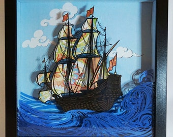 Layered handmade paper cut - sailing ship in shadow box, wall art