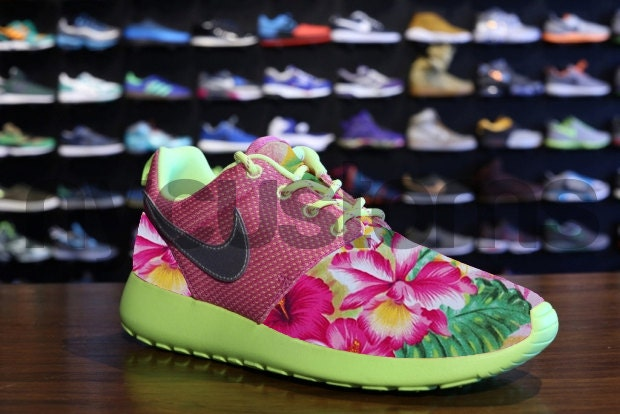 ee20bf538c515 ... good nike roshe run pink volt island floral garden custom kids womens  on the hunt 668c4