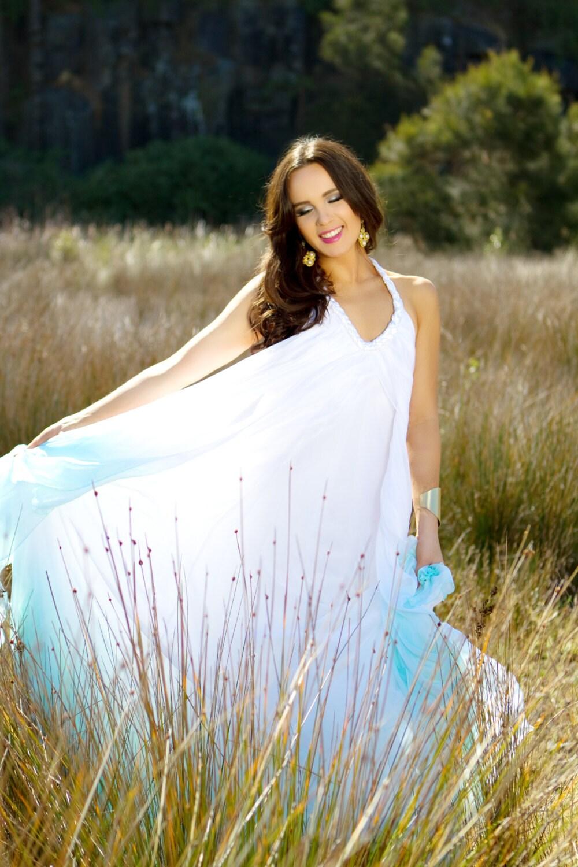 Silk Chiffon Dip Dyed Beach Garden Wedding Dress With Low