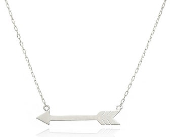 14K White Gold Fancy Arrow Necklace