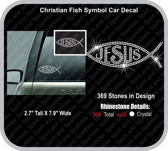 Christian fish symbol rhinestone car decal for Fish symbol on cars