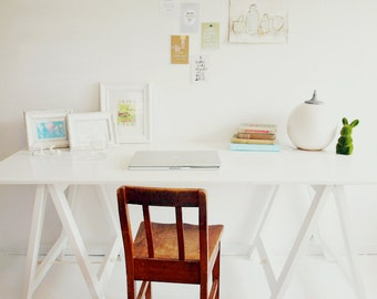 Milky White trestle table - desk, dining table, console table, coffee table, kids desk, breakfast bar