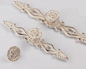 Dresser Pulls Drawer Pulls Handles Knobs Cabinet Handles Door Handle French Cream White Gold Silver Rose Flower Decorative Furniture Knob JM