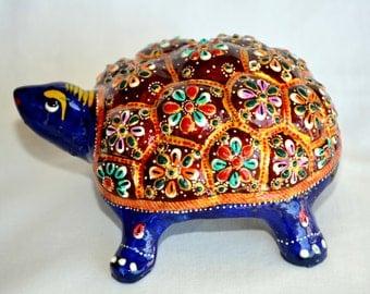 Meenakari Turtle, Minakari Turtle, Minakari Animal Artifacts, Meenakari Table Artifacts, Antique Turtle