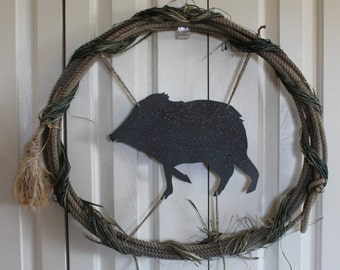 Western Rope Wreath.  Javelina and Raffia Lasso Wreath. Western Javelina and Rope decor.  Rustic raffia, bling, rodeo rope decor.