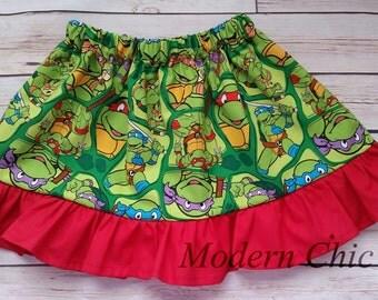 TMNT Teenage Mutant Ninja Turtles Girls Skirt CHOOSE Ruffle Color