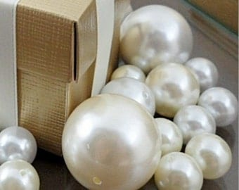Decorative Ivory and Creamy White Pearls in Assorted Sizes (Pack of 34)