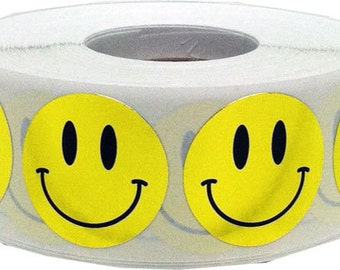 500 Shiny Metallic Gold Smiley Happy Face Stickers - 0.75 Inch Round