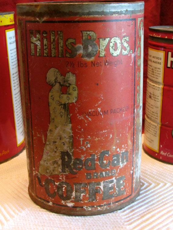 Rare Hills Bros Coffee Tin, Vintage Coffee Can, Cottage Chic Kitchen Decor, Coffee Shop Display, Photo Movie Prop, laslovelies