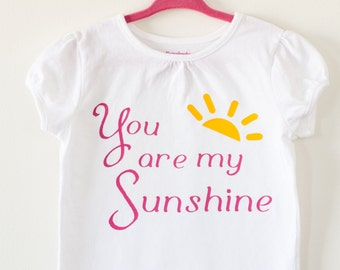 Girls You are my Sunshine Shirt in size 5T, white