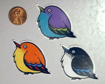 Set of 3 Vinyl Bird Stickers.