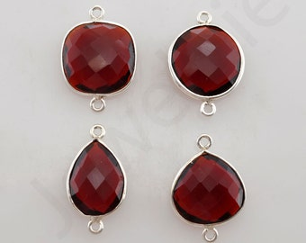 Red Garnet Quartz 925 Sterling Silver Bezel Station Connector and Charm, 1 piece